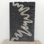 SPLASH   Ardoise/Granit mauve/Marbre AZUL MACAUBAS/Jaune de Sienne  36 X 56 cm